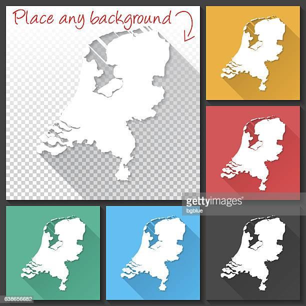 Netherlands Map for design, Long Shadow, Flat Design