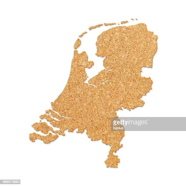 Netherlands map in cork board texture on white background