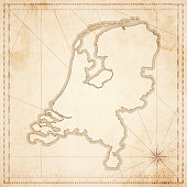 Netherlands map in retro vintage style - old textured paper