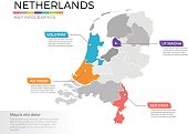 Netherlands map infographics vector template with regions and pointer marks
