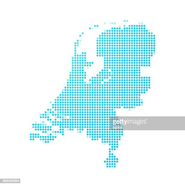 Netherlands map of blue dots on white background