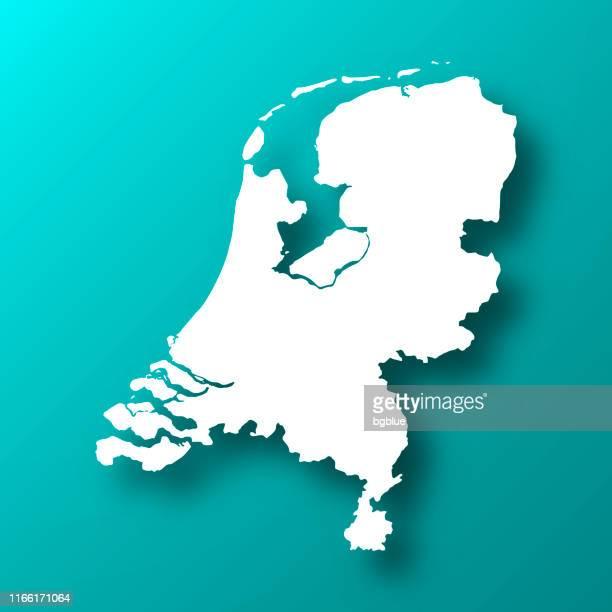 ilustraciones, imágenes clip art, dibujos animados e iconos de stock de mapa de los países bajos sobre fondo verde azul con sombra - netherlands