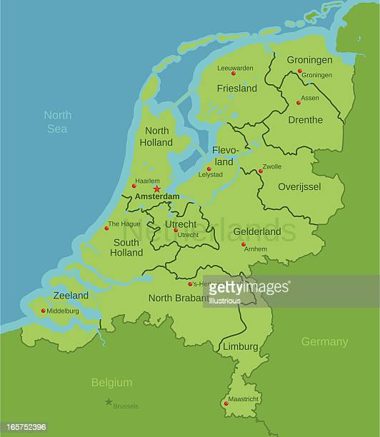 netherlands map showing provinces - amsterdam stock illustrations, clip art, cartoons, & icons