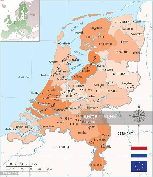 netherlands map - utrecht stock illustrations