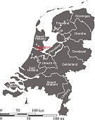 Netherlands map vector outline with scales and states or provinces