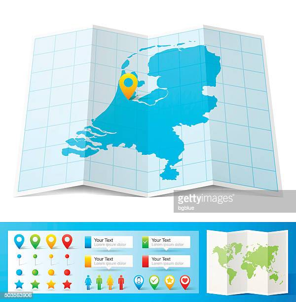stockillustraties, clipart, cartoons en iconen met netherlands map with location pins isolated on white background - nederland