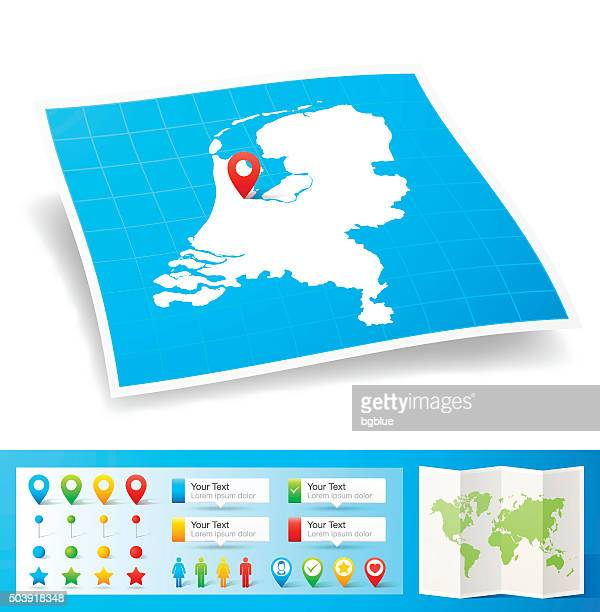 Netherlands Map with location pins isolated on white Background