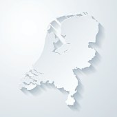 Netherlands map with paper cut effect on blank background