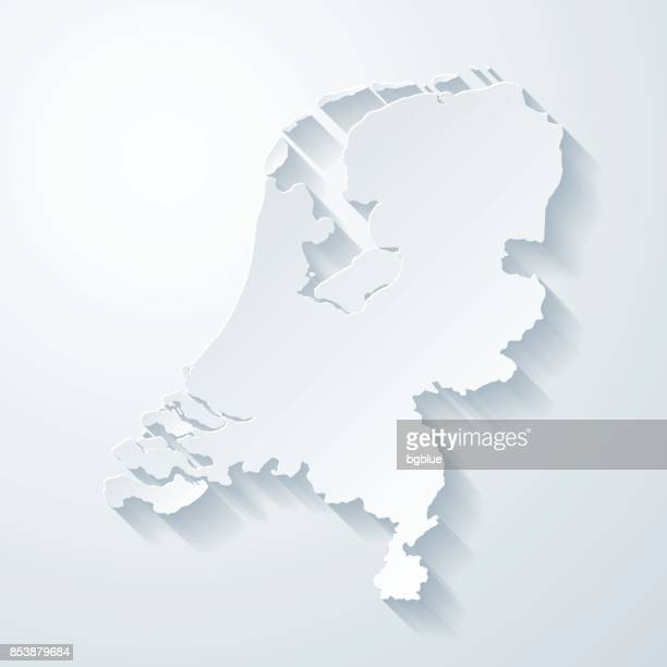 netherlands map with paper cut effect on blank background - netherlands stock illustrations