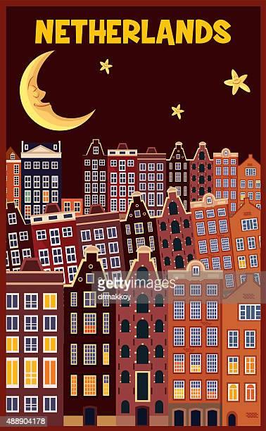 netherlands poster - amsterdam stock illustrations, clip art, cartoons, & icons