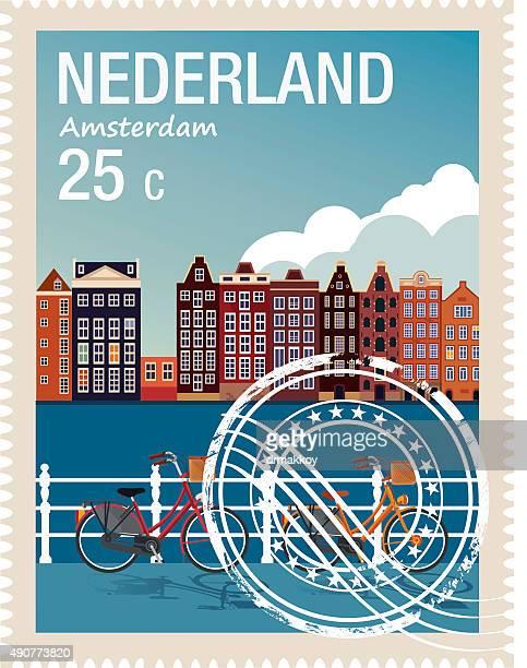 netherlands stamp - amsterdam stock illustrations, clip art, cartoons, & icons