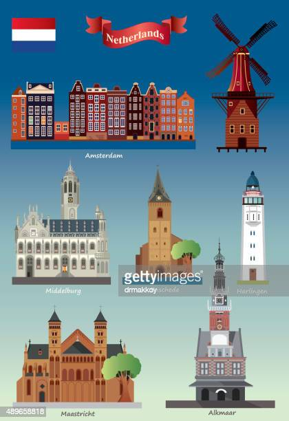 netherlands symbols - middelburg netherlands stock illustrations