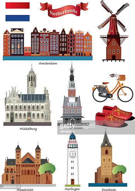 netherlands symbols - amsterdam stock illustrations, clip art, cartoons, & icons
