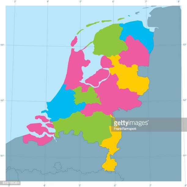 stockillustraties, clipart, cartoons en iconen met nederland vector kaart kleurrijke bestuurlijke indeling - benelux