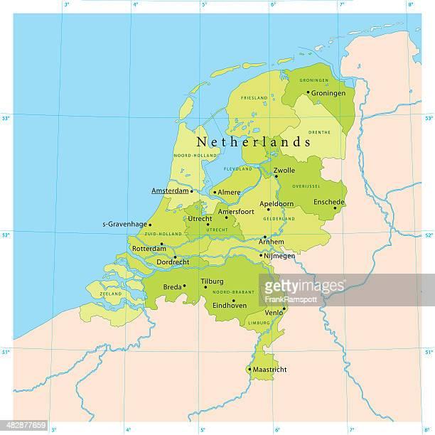 netherlands vector map - amsterdam stock illustrations, clip art, cartoons, & icons