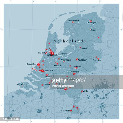 Netherlands Vector Road Map Vector Art Getty Images - Netherlands rivers map