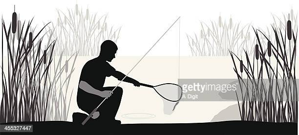 Net'n Fishing Vector Silhouette