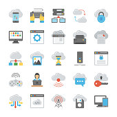 Network and Cloud Computing Flat Icon Collection