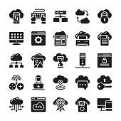 Network and Cloud Computing Glyph Icon Collection
