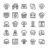Network and Cloud Computing Line Icon Collection