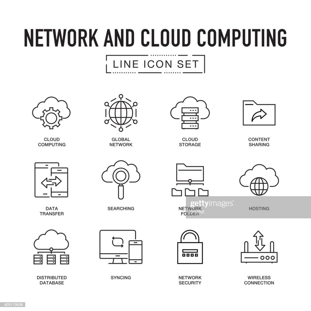 Network and Cloud Computing Line Icon Set : stock illustration