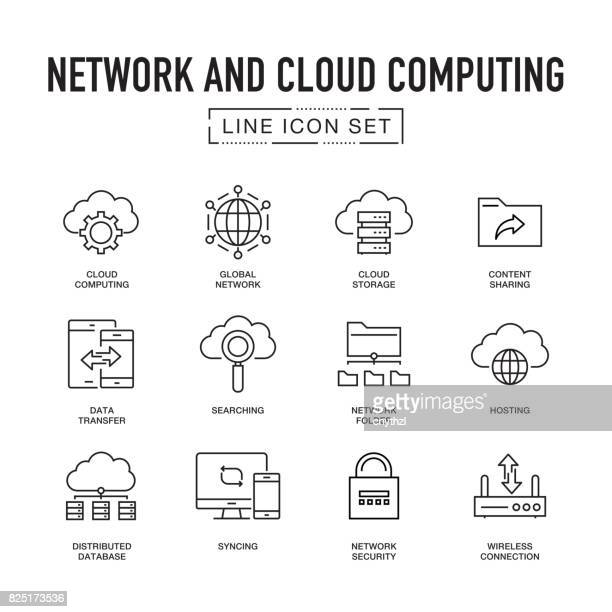network and cloud computing line icon set - group of objects stock illustrations