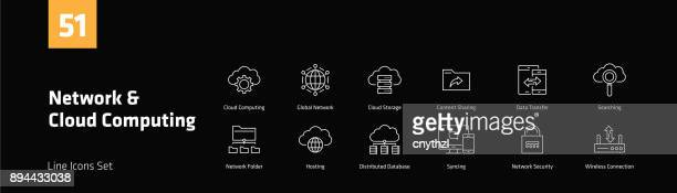 Network and Cloud Computing Line Icons Set