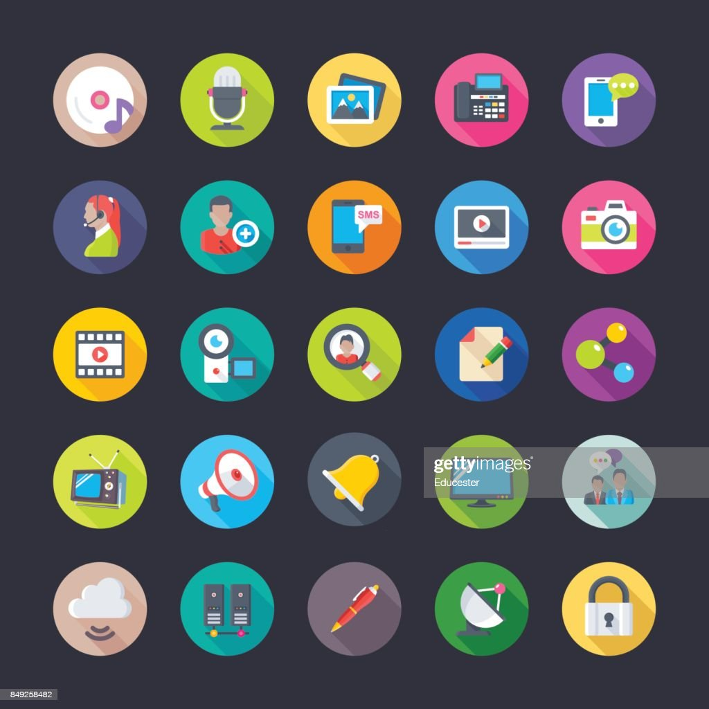 Network And Communications Flat Circular Icons 1