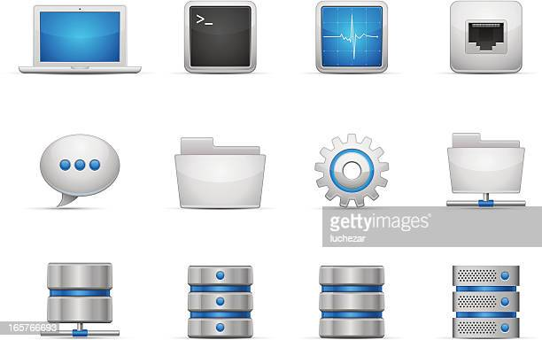 network and hosting icons - ethernet cable stock illustrations, clip art, cartoons, & icons