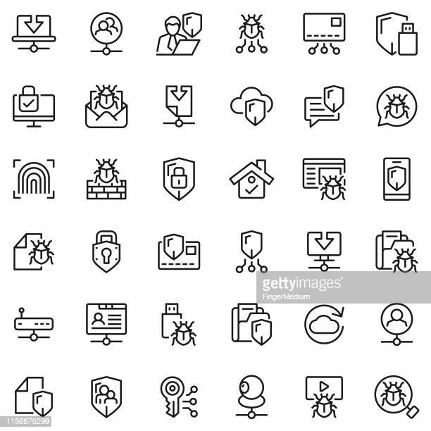 network and security icon set - malfarbe stock illustrations