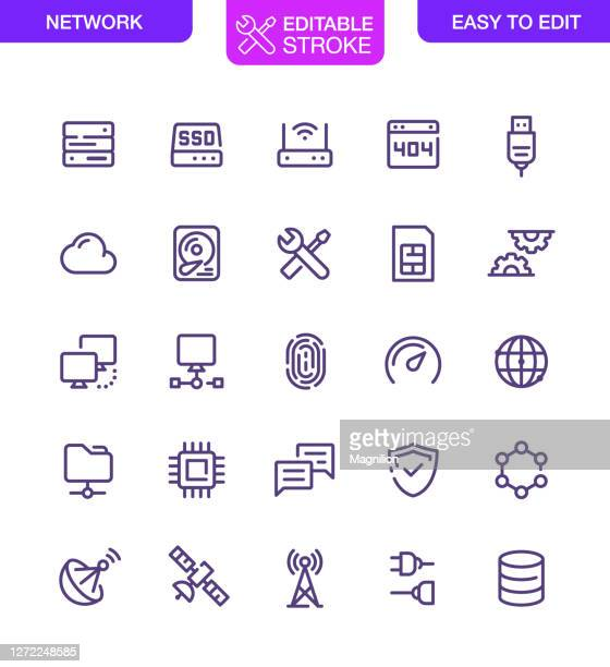 network and technology icons set editable stroke - hard drive stock illustrations
