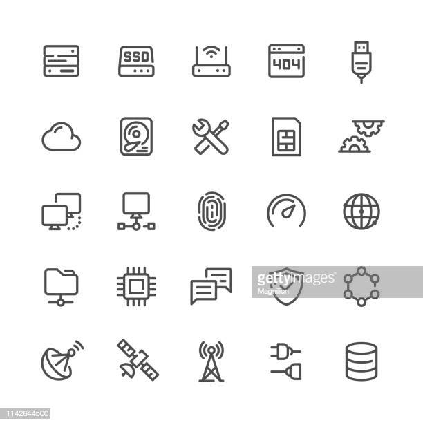 network and technology icons set - usb cable stock illustrations, clip art, cartoons, & icons