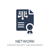network certificate icon. Trendy flat vector network certificate icon on white background from Internet Security and Networking collection