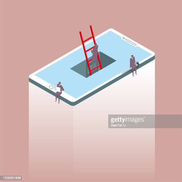 network communication concept, a businessman crossing a cell phone using a ladder, two businessmen sitting on the edge of a cell phone. one is reading. the background is brown. - surrealism stock illustrations