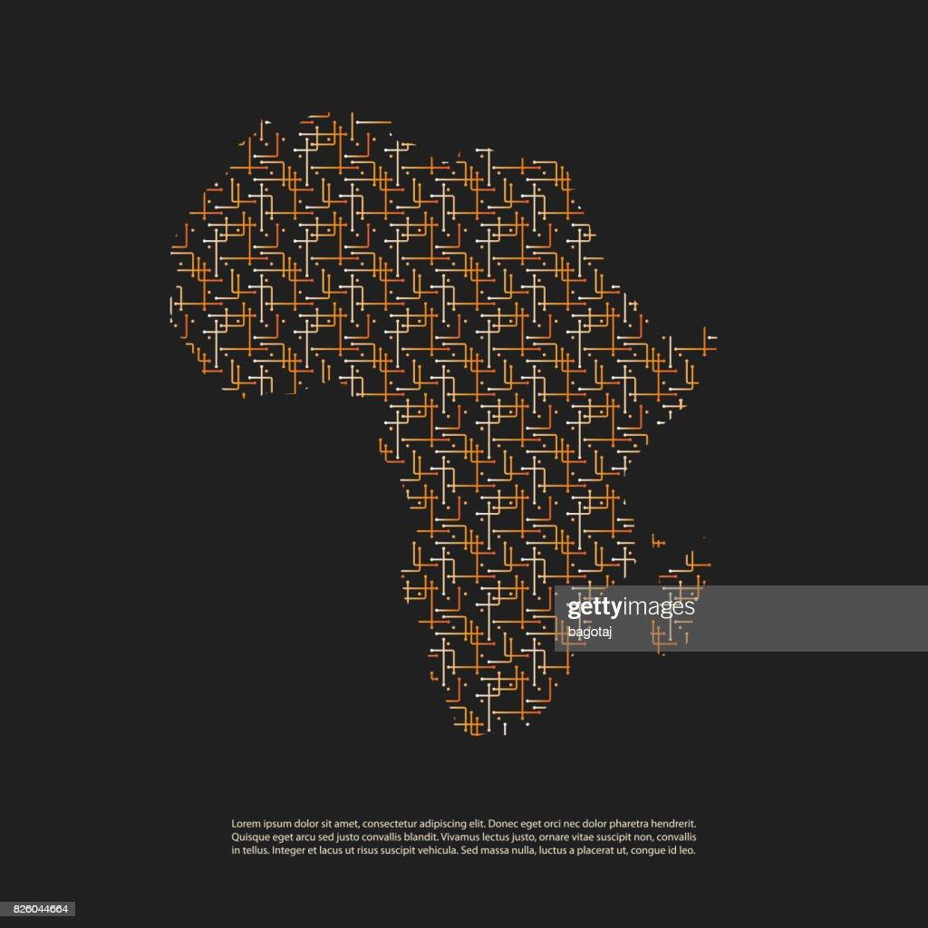 Netzwerkverbindungenkonzept Gemusterten Karte Von Afrika