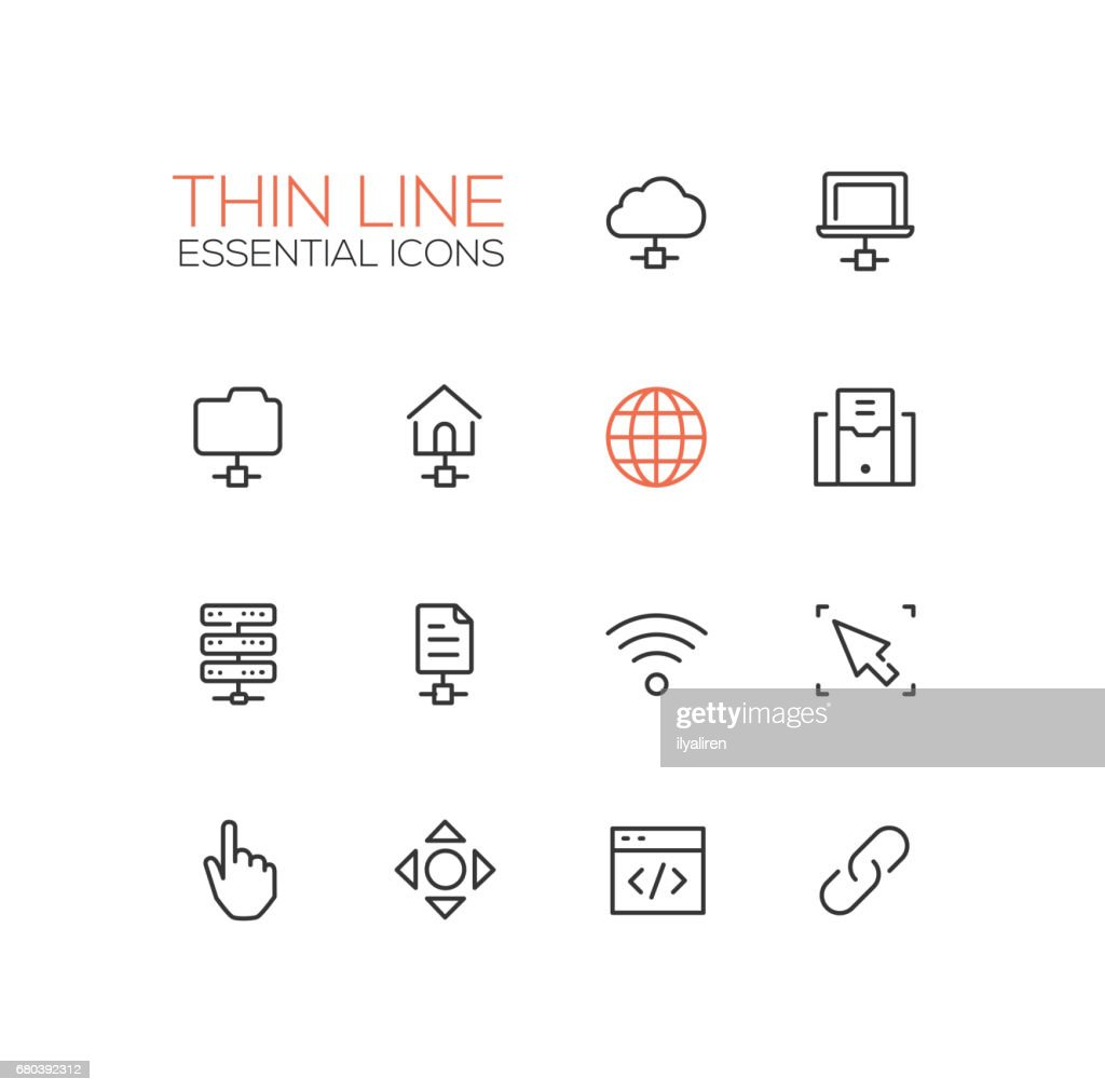 Network Data - modern vector single thin line icons set