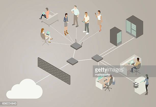 lan network diagram - mathisworks business stock illustrations