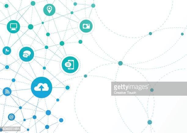 network dots - communication - wireless technology stock illustrations