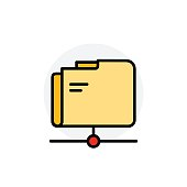 Network folder concept Isolated Line Vector Illustration editable Icon