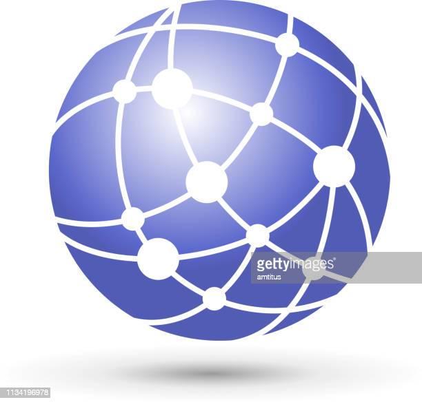 illustrazioni stock, clip art, cartoni animati e icone di tendenza di globo di rete - comunicazione globale