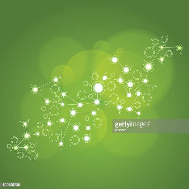 Network green illustration on abstract blurry background