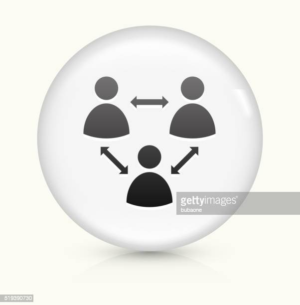 Netzwerk Gruppe Symbol auf weißer Runder Vektor Knopf
