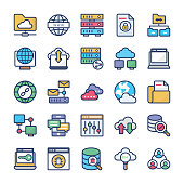 Network Hosting and Servers Flat Icons Set