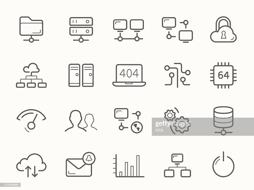 Network Hosting and Servers Line Icons