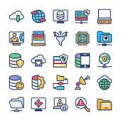 Network Hosting Flat Icons Set
