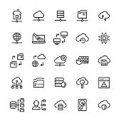 Network hosting icon set in line style.