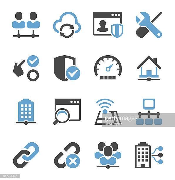 network icon set | concise series - speedometer stock illustrations