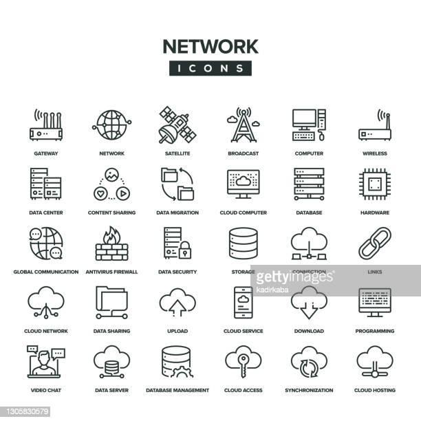 illustrazioni stock, clip art, cartoni animati e icone di tendenza di set di icone linea di rete - centro elaborazione dati