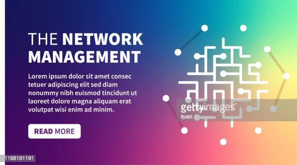 illustrazioni stock, clip art, cartoni animati e icone di tendenza di banner di gestione della rete su sfondo sfumatura olografica - centro elaborazione dati