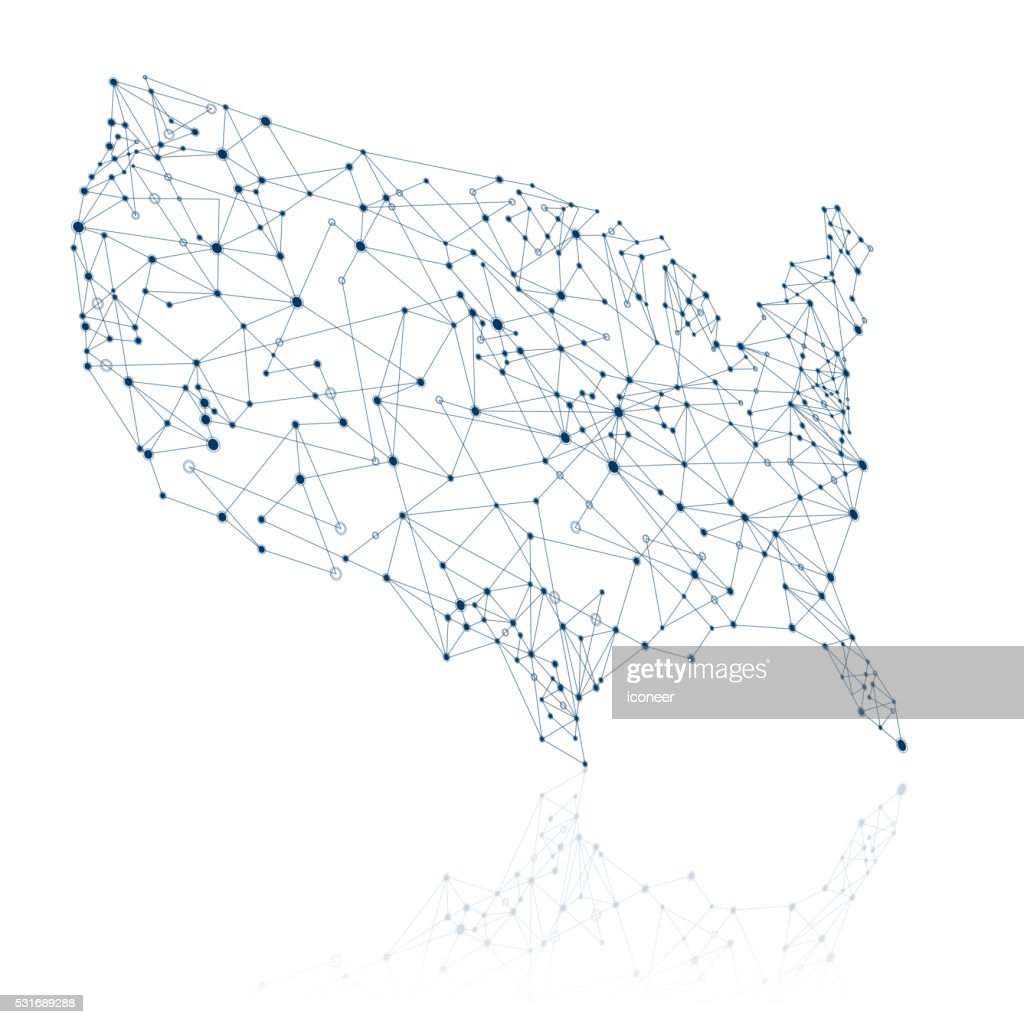Usa network map in dark blue colors with reflection vector art usa network map in dark blue colors with reflection vector art ccuart Image collections